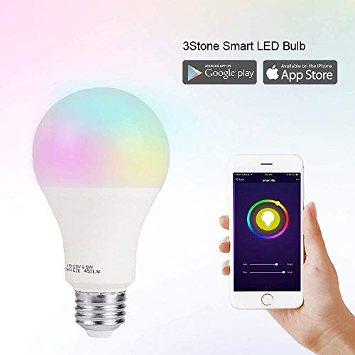 Smart LED Light Bulb A19 by 3Stone, E27 WiFi App Controlled UL Listed, Dimmable Warm White and RGB Colors 60W Equivalent, Works Perfect with Amazon Alexa Google Assistant IFTTT (1 Pack)