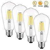 Dimmable Edison LED Bulb, Warm White 2700K, Kohree 6W Vintage LED Filament Light Bulb, 60W Incandescent Equivalent, E26 Base Lamp for Restaurant,Home,Reading Room UL Listed 4-Packs(NOT Daylight)