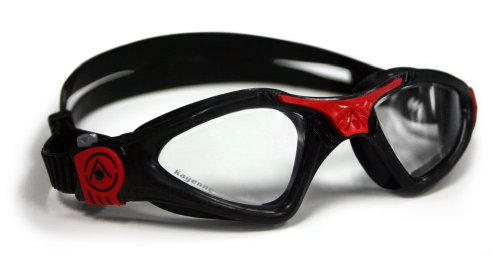 Aqua Sphere Kayenne Swim Goggles Small Fit with Clear Lens (Black/Red).