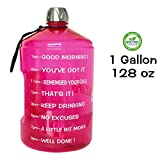 QuiFit 1 Gallon Water Bottle Reusable Leak-Proof Drinking Water Jug for Outdoor Camping Hiking BPA Free Plastic Sports Bottle(Pink)