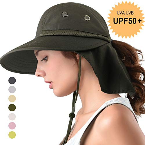 camptrace Safari Sun Hat Wide Brim Fishing Hat with Neck Flap for Women Ponytail Packable Sun Protection UPS UPF 50+ for Hiking Hunting Camping