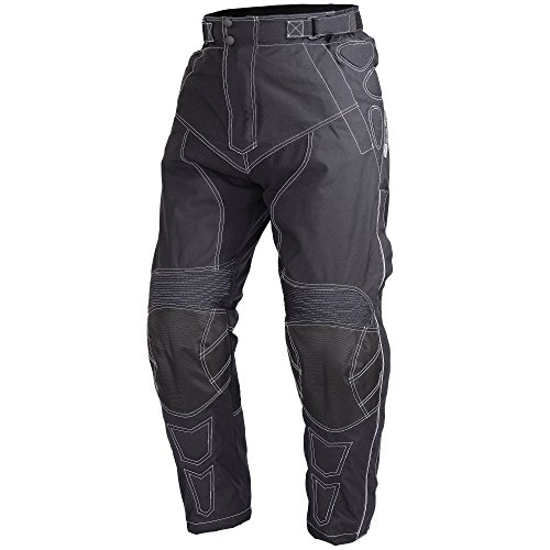 Motorcycle Cordura Waterproof Riding Pants Black with Removable CE Armor PT5 (2XL-Short)