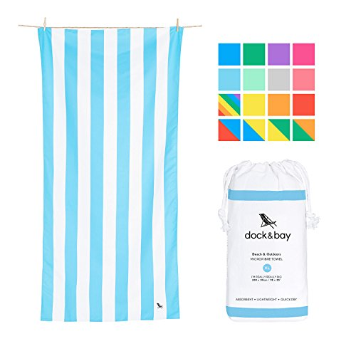 Fast Dry Beach Towels Compact - Light Blue, Extra Large 78x35 - fast drying towel for traveling, beach towel set