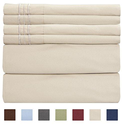 CGK Unlimited Extra Deep Pocket Sheets - Super Deep Pocket Bed Sheet Set - Deep Fitted Flat Sheet - Deep Queen Sheets Beige - Queen Sheet Tan