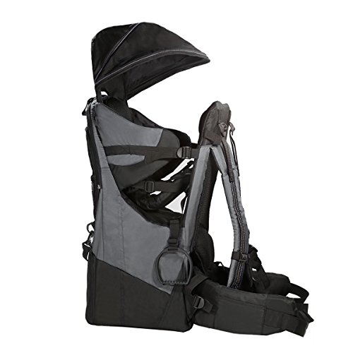 Clevr Deluxe Baby Backpack Hiking Toddler Child Carrier Lightweight with Stand & Sun Shade Visor, Grey | 1 Year Limited Warranty