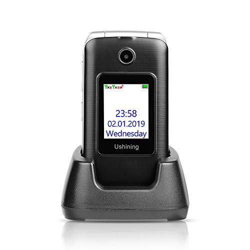 Ushining 3G Unlocked Senior Flip Phone Dual Screen, FM Radio, Easy to Use Mobile Cell Phone, 2.4' LCD and Large Keypad w/Charging Cradle (Black)