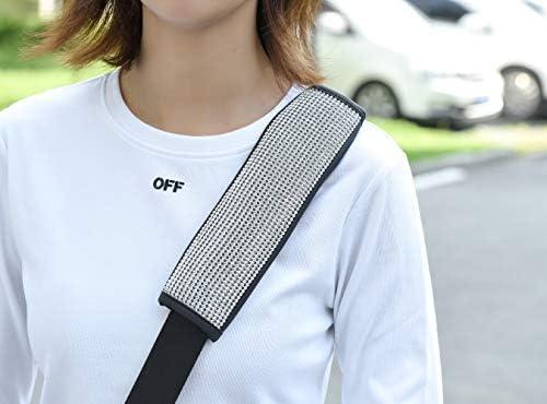 Valleycomfy Microfiber Leather Seat Belt Shoulder Pads with Bling Rhinestones Car Bling Seat Belt Covers for Women, Crystal Handbrake Cover, Bling Ring Set Bling Car Accessories 4 Pack Set Universal 17