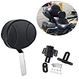 OXMART Motorcycle Backrest Sissy Bar with PU Pad Detachable Storage Bag Adjustable Passenger Backrest Fit for Harley with One-Piece Slotted Seat (Black-C)