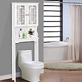 BestComfort Wooden Over The Toilet Cabinet Storage, BathroomOrganizerOverToiletStorage, Above The Toilet Space Saver Cabinet (22.6' x 7.5' x 61.3'(L x W x H))
