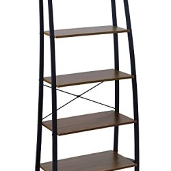 FIVEGIVEN 5 Tier Ladder Book Shelf Tall Bookshelf Modern Open Wood Espresso