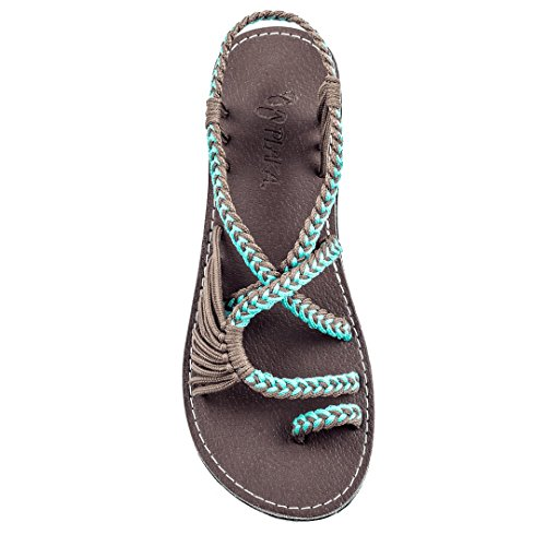 Plaka Sandals, Turquoise-Gray, Size 9, Palm Leaf