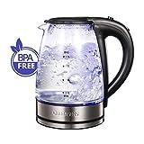QUEEN SENSE Electric Kettle, Cordless, Glass Electric Kettle, Boil water Tea Kettle,Blue Light,1200W,Glass kettle, Hot Water Kettle,Tea Pot,Coffee pot (1.7L, GK1705A)