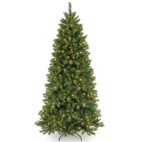 National Tree 7.5 Foot Lehigh Valley Pine Slim Tree with 450 Dual LED Lights and 9 Function Footswitch, Hinged (LVP7-322LD-75)