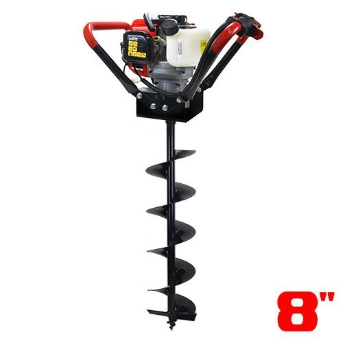 """XtremepowerUS 1-Person Post Hole Digger Auger V-Type 55CC 2 Stroke Recoil Start Digger Powerhead+ 8"""" Bit inch Set EPA Motor"""