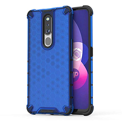 Prime Retail TPU+PC Dual Layer Honeycomb Pattern Shockproof Premium Back Case Cover for Oppo F11 Pro - Blue 77