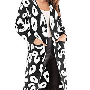 Women's Open Front Knit Cardigan, Printed Ugly Christmas Sweater Coat with Pockets