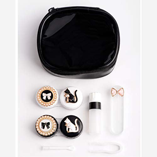 Contact Lens Case Cute Cat Portable Contacts Lenses Travel Kit with Tweezers Container Holder Mirror -Easy Carry (Cat)