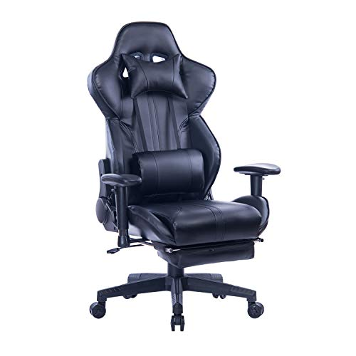 Fabulous Blue Whale Gaming Chair With Adjustable Massage Lumbar Pillow Retractable Footrest And Headrest Racing Ergonomic High Back Pu Leather Office Computer Customarchery Wood Chair Design Ideas Customarcherynet