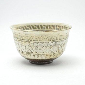 Japanese traditional ceramic Hagi ware. Mishimade matcha teabowl chawan made by Keita Yamato.