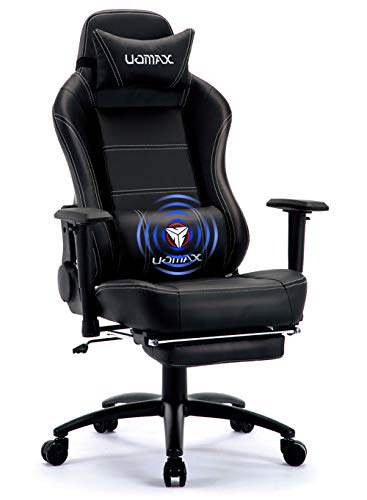 UOMAX Gaming Chair Reclining Rocking Office Chair for Computer, Racing Style Office Chair Recliner with Footrest and Massage Lumbar Support, PU Leather E-Sports Game Seat for Gamer. (Black)