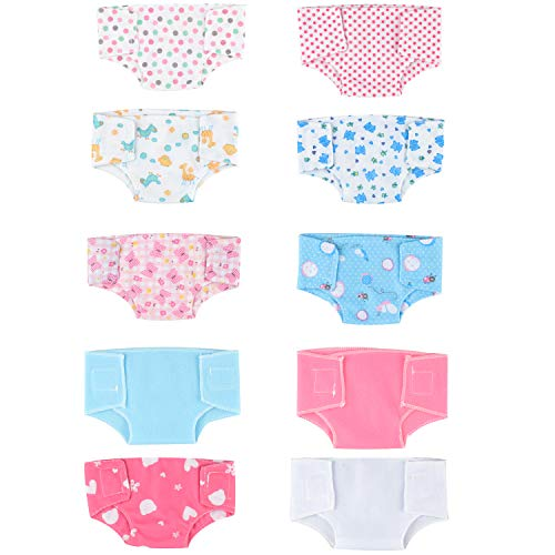 SOTOGO 10 Pieces Doll Diapers Doll Underwear for Baby Doll