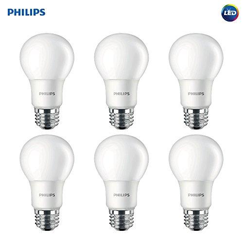 Philips LED 459024 Non-Dimmable Frosted 800-Lumen, 2700-Kelvin, 8.5, E26 Base, Soft White, 6-Pack Philips 60 Watt Equivalent A19 LED Light Bulb,