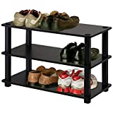 J&M 3-Tier Stackable Shoe Rack Storage Organizer 23' W Wooden Free Stand Entryway Display in Espresso Finish