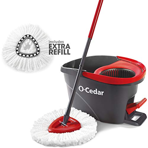 O-Cedar Easywring Microfiber Spin Mop & Bucket Floor Cleaning System with 1 Extra Refill
