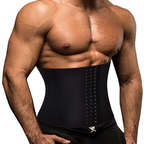 TOAOLZ Men Waist Trainer Slimming Belt Weight Loss Fitness Neoprene Fat Burner Sweat Trimmer Back Support Band (Black, Small)