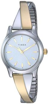 Timex Women's TW2R98600 Stretch Bangle Crisscross25mm Two-Tone Expansion Band Watch