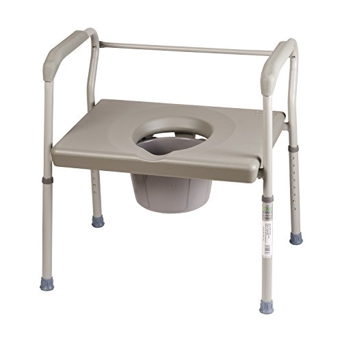 Duro-Med Bedside Commode Chair, Heavy-Duty Steel Commode Toilet Chair, Toilet Safety Frame, Medical Commode