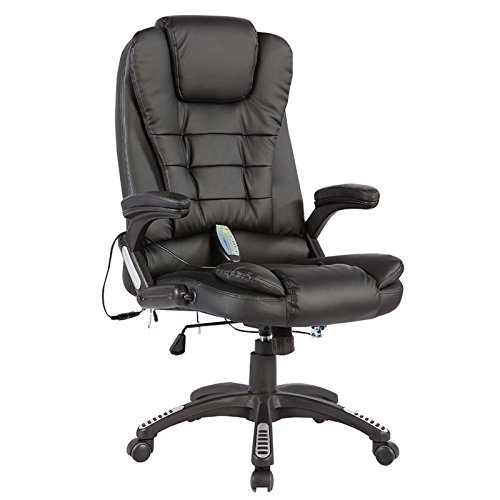Mecor Heated Office Chair-High-Back Ergonomic Executive Office Chair w/6 Point Massage Function-PU Leather Computer Chair w/360 Degree Adjustable Height & Armrest (Black)