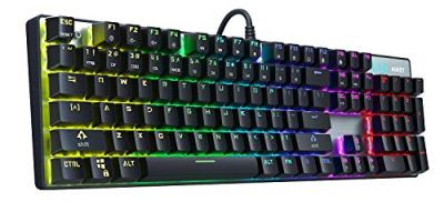 AUKEY Mechanical Keyboard Blue Switch, 104-Key RGB Backlit Gaming Keyboard with Customizable Lighting Effects, Aluminium USB Wired Keyboard for Gaming and Typing, Mac & PC Compatible (2019 Edition)