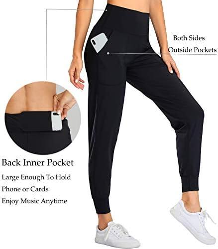 Oalka Women's Joggers High Waist Yoga Pockets Sweatpants Sport Workout Pants 3