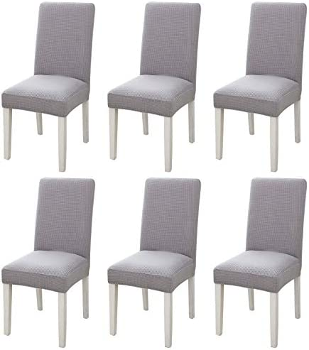 Suwimut 6 Pack Dining Chair Covers, Stretch Chair Slipcover Parsons Chair Covers, Removable Washable Chair Protector for Dining Room, Hotel, Ceremony, Light Grey