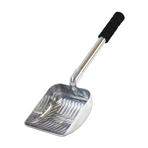 Brask-Pet-Cat-Litter-Scoop--Large-Sized-2-in-1-Sifter-and-Scoop--Long-Handled-Litter-Box-Scooper--Aluminum-Metal-with-Soft-Grip-Handle