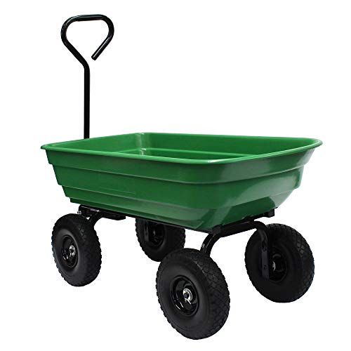 "Garden Star 70275 Garden Wagon/Yard Cart with Flat Free Tires, 37"" x 20"" Poly Tray, 600lb capacity"