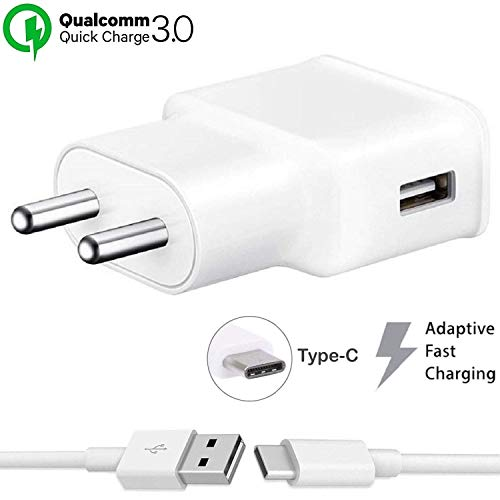 Fast Type C Charger for Samsung Galaxy A30 Charger Original Adapter Like Mobile Charger | Power Adapter | Wall Charger | Fast Charger | Android Charger | Battery Charger Hi Speed Travel Charger With 1 Meter USB Type C USB Charging Data Cable (3.1 Amp White) 169