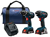 Bosch Power Tools Drill Set - CLPK232A-181 - 18-Volt Cordless Drill Driver/Impact Combo Kit with 2 Batteries, 18V Charger and Soft Carrying Case