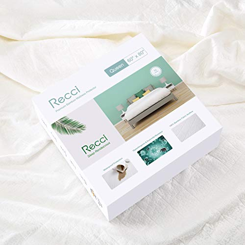 RECCI Premium Bamboo Mattress Protector Queen Size - 100% Bamboo Fabric Surface Mattress Cover, Waterproof Bed Cover, Hypoallergenic, Vinyl Free