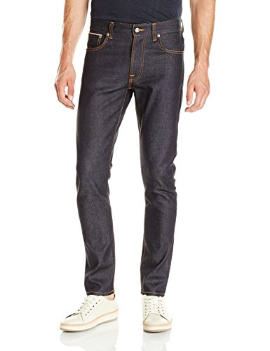 41ZZU2F4nqL Dark wash jean in 13.5-ounce comfort stretch denim featuring color-pop orange threads Classic five-pocket styling, Zip fly, tight fit Silver-tone rivets and button