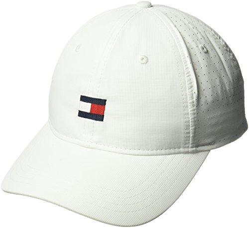 Tommy Hilfiger Men's Dad Hat Flag Golf Cap, Classic White, O/S