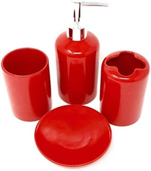 4 Piece Ceramic Bathroom Accessories Set – Red – Our Complete Bath Decor Kit Includes Designer Soap or Lotion Dispenser – Toothbrush Holder – Tumbler – Soap Dish