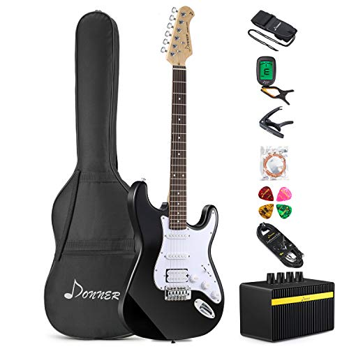 Donner DST-1B Full-Size 39 Inch Electric Guitar Black with Amplifier, Bag, Capo, Strap, String, Tuner, Cable and Pick