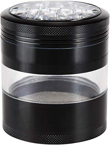 "Zip Grinders Large Herb Grinder - Four Piece with Pollen Catcher - 3.25 Inches Tall - Premium Grade Aluminum (2.5"", Black)"