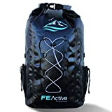 FE Active - 30L Eco Friendly Waterproof Dry Bag Backpack Great for All Outdoor and Water Related Activities. Padded Shoulder Straps, Corded Exterior and Mesh Netting for Increased Carrying Capacity