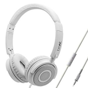 boAt BassHeads 900 On-Ear Wired Headphone with Super Extra Bass, in-line Mic, Snug Fit and Lightweight Foldable Design (White)
