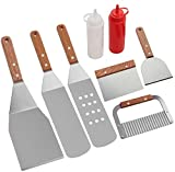 ROMANTICIST 8Pc Professional BBQ Griddle Accessories Kit in Gift Box - Heavy Duty Stainless Steel Griddle Tool Set for Men Dad on Fathers Day - Great for Grill Griddle Flat Top Cooking Camping