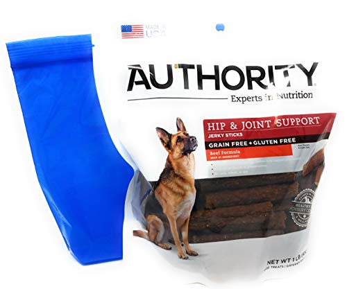 Authority Hip and Joint Support Jerky Sticks 1lb and Tesadorz Resealable Bags 1