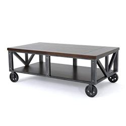 Christopher Knight Home Dree Industrial Faux Wood Coffee Table with Iron Frame, Rustic Wood / Antique Black